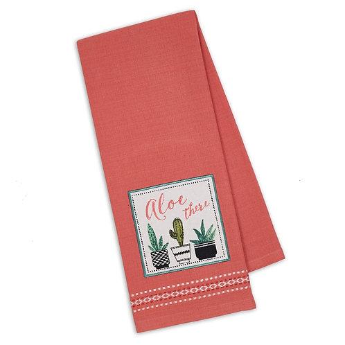 Aloe There Embellished Dishtowel