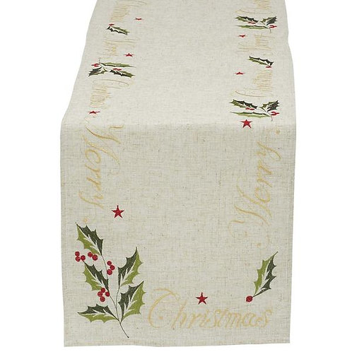 """""""Merry Christmas"""" Embroidered Table Runner"""