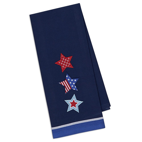 Patriotic Stars Embellished Dishtowel