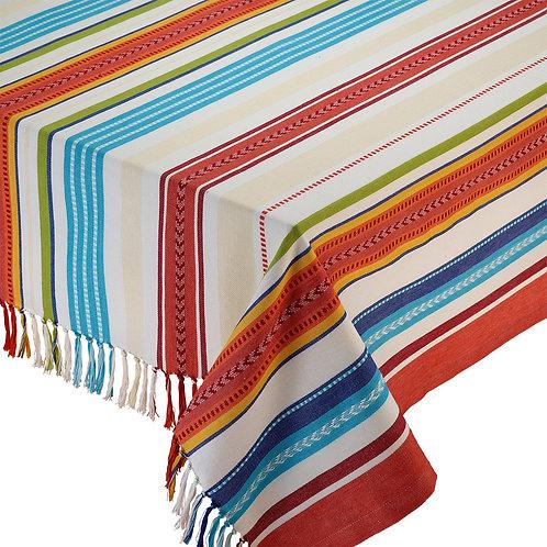 Baja Stripe Fringed Tablecloth