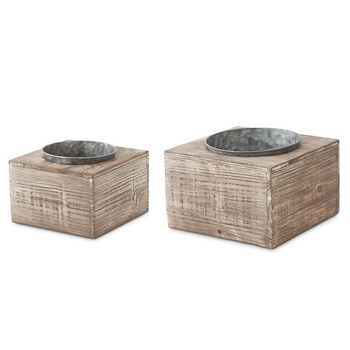 Wooden Blocks with Single Inset Tin Pots