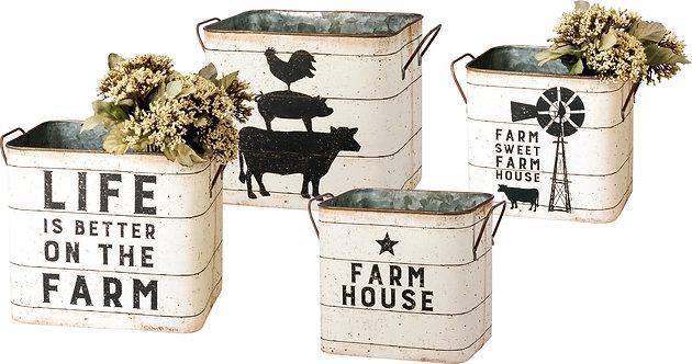 Tin Buckets - Farm Sweet Farm House