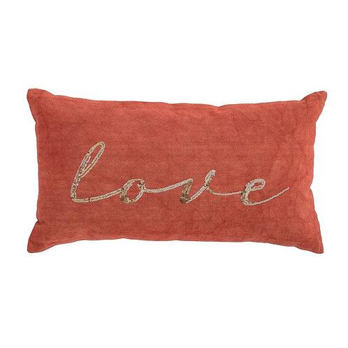 "Cotton Pillow ""Love"", Orange w/ Gold Embroidery"