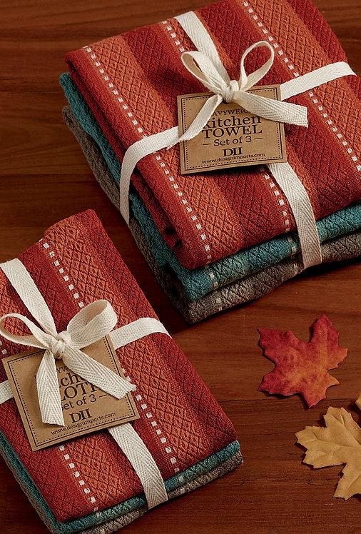Vintage Autumn Stripe Heavyweight Dishcloth Set