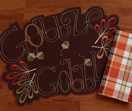 Gobble Gobble Embroidered Placemat