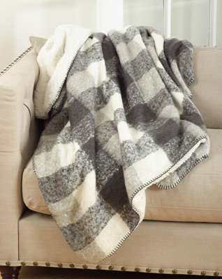Faux Mohair Design Sherpa Throw