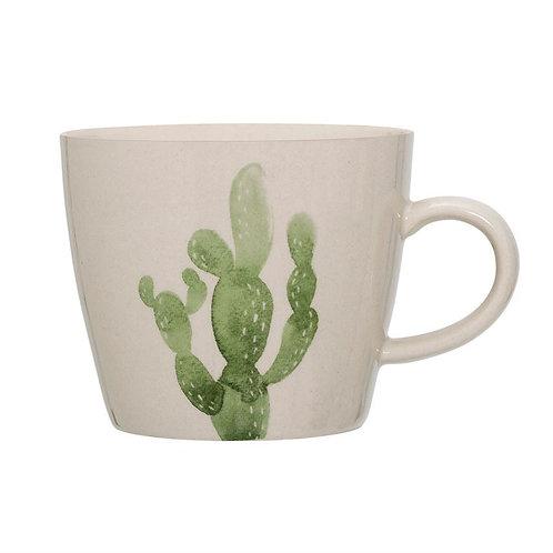 Stoneware Jade Mug w/ Cactus