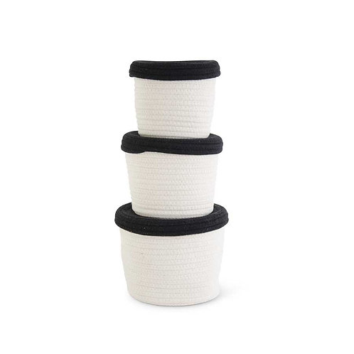 White Cotton Rope Baskets w/Black Lids