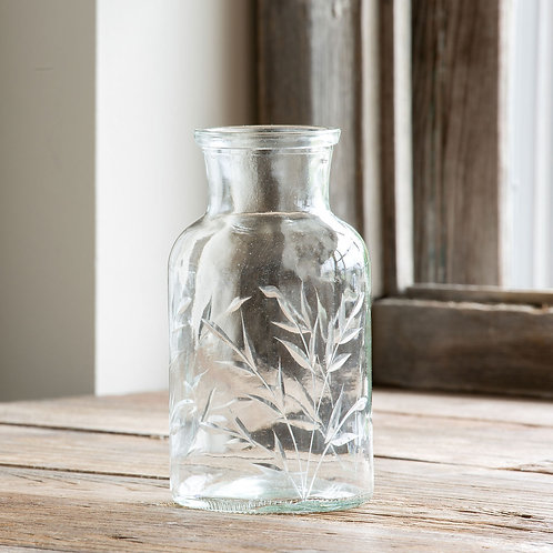 Etched Glass Apothecary Vase