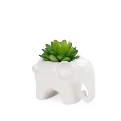 Animal Garden Ceramic Elephant Potted Faux Succulent