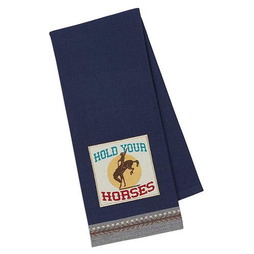 Hold Your Horses Embellished Dishtowel