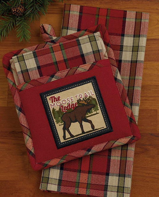 Moose Trail Lodge Potholder Gift Set