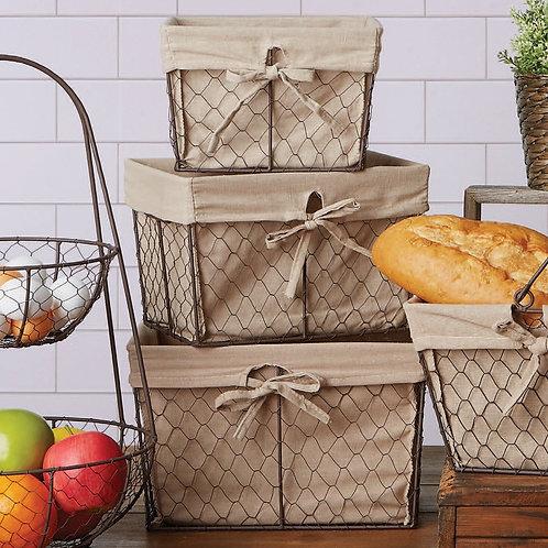 Chicken Wire Basket Natural Fabric Liner