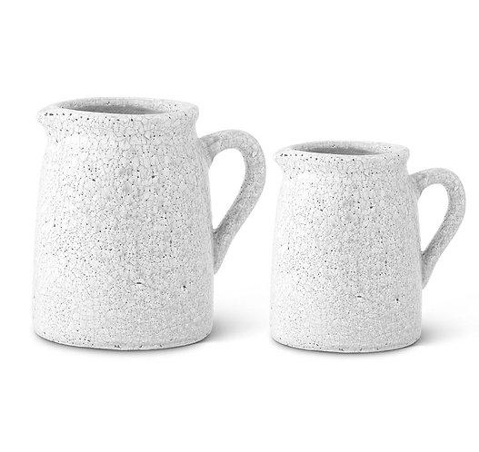 White Crackle Glazed Terracotta Pitchers