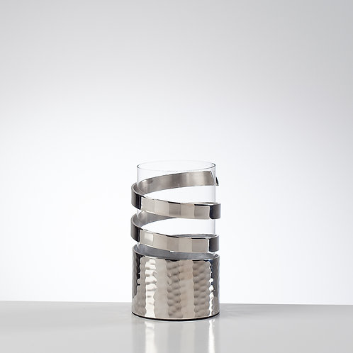 Silver Swirl Hurricane Lantern Candle Holder