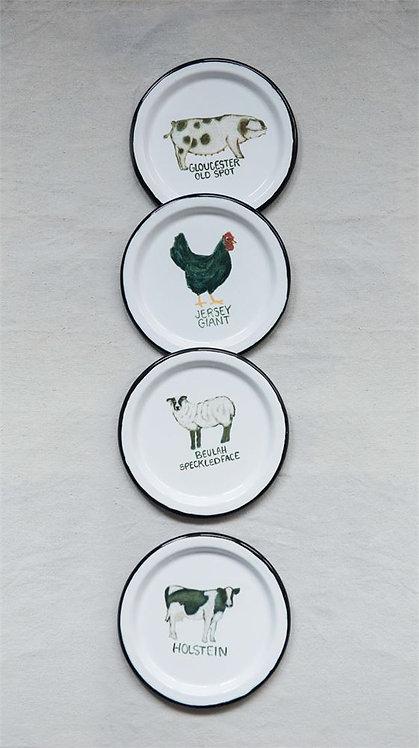 Round Enameled Plate w/ Farm Animal