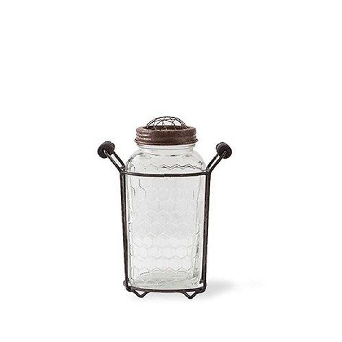 Metal Mesh Handled Holder w/ Lidded Mason Jar