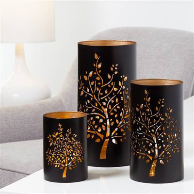 Tree Metal Cutout Hurricane Candle Holder