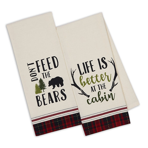 Cabin Rules Embellished Dishtowels