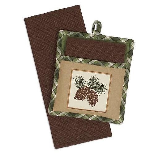 Pinecone Sprig Potholder Gift Set