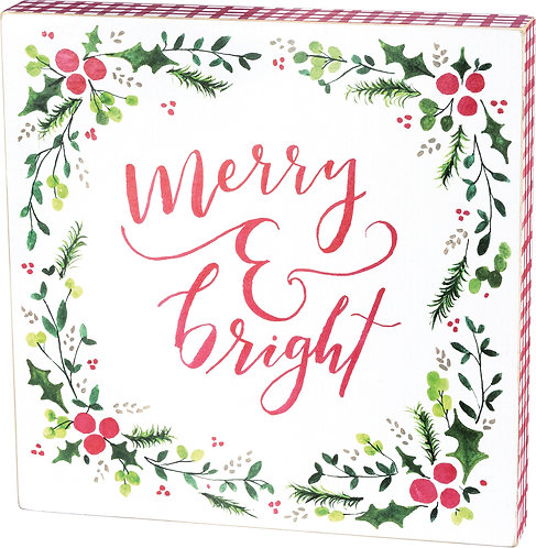 Box Sign - Merry & Bright