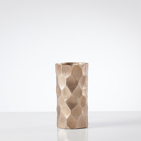 Linus Chiseled Brushed Cylinder Vase Gold
