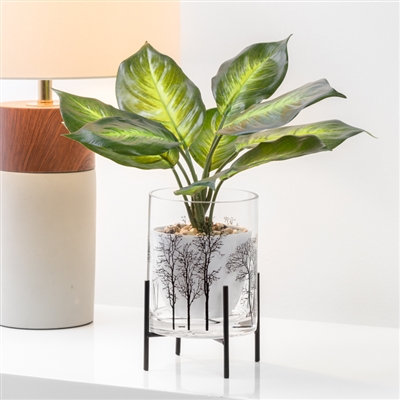 Aspen Tree Silhouette Glass Hurricane Vase On Stand
