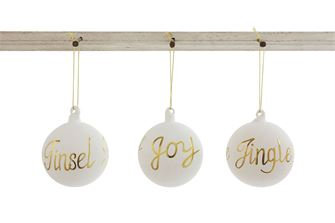 Glass Ball Ornament w/ Gold Word
