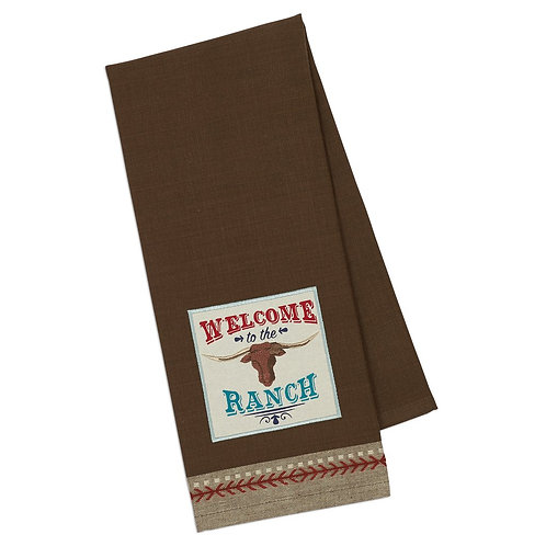 Welcome Ranch Embellished Dishtowel