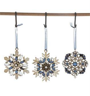 Round Metal & Acrylic Jewel Snowflake Ornament