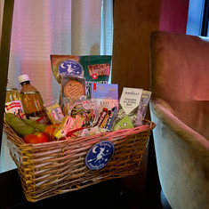 Basket full of Swiss goodies for new comers.