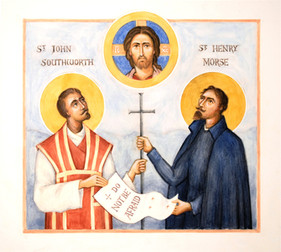 Icon of Christ with Saint Henry Morse and Saint John Southworth, plague saints of the 17th century