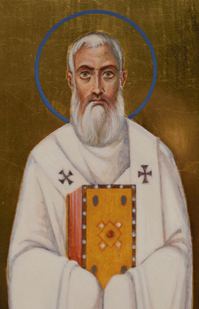 Icon of three hierarchs (detail, Saint Athanasius the Great)