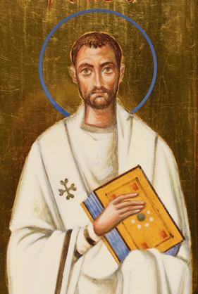 Icon fo three hierarchs (detail, Saint Ambrose of Milan)