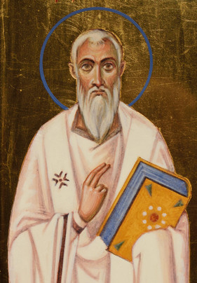 Icon of three hierarchs (detail, Saint Gregory of Nyssa)