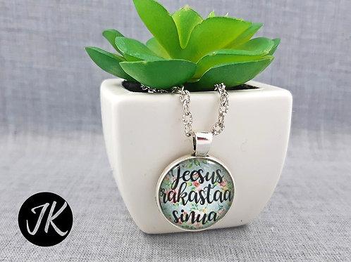 Jeesus rakastaa sinua - igés, üveglencsés medálos nyaklánc (finn)