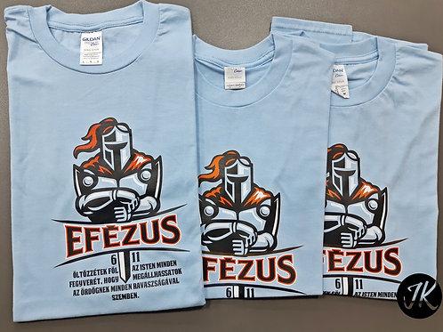 Efézus 6,11 - Igés, feliratos, keresztény póló (ffi) kék