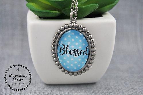 Blessed-pöttyös, üveglencsés medál nemesacél lánccal