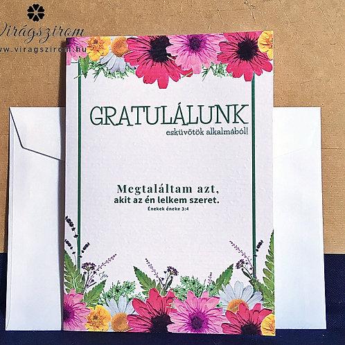 Esküvőre ,igés, borítékos, képeslap, préselt virág reprodukció