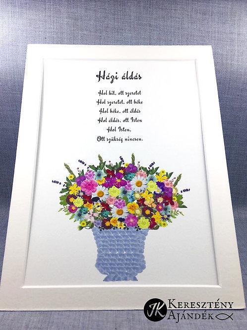 Házi áldás, igés, virágnyomat, falikép, paszpartuval, 15*20 cm