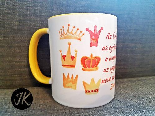 Az Úr lesz a király az egész földön - igés, feliratos, bögre (JK) sárga