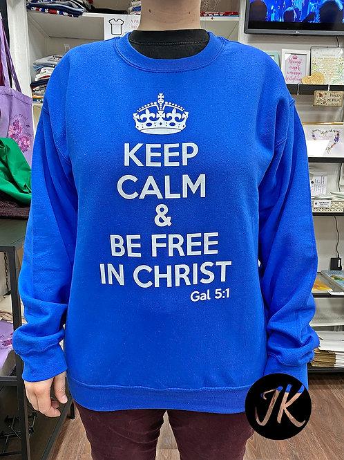 Keep Calm and be free in Christ - Igés,keresztény pulóver (kék)