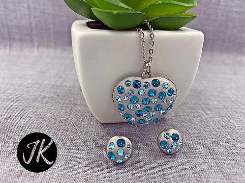 Türkiz-szürke, swarovski kristályos, medálos fülbevalós szett ( nemesacél ) szív