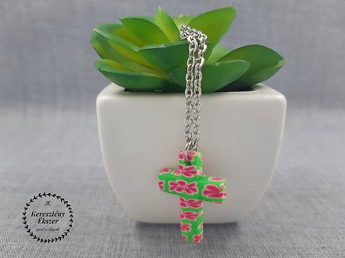 Zöld-pink, virágos kereszt medál, nemesacél láncon