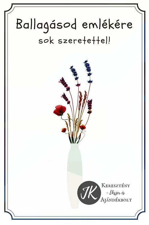 Ballagásra, borítékos, képeslap, valódi préselt virág reprodukcióval