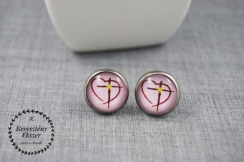 Rózsaszín, keresztes-szíves, bedugós ezüst színű, üveglencsés, igés fülbevaló