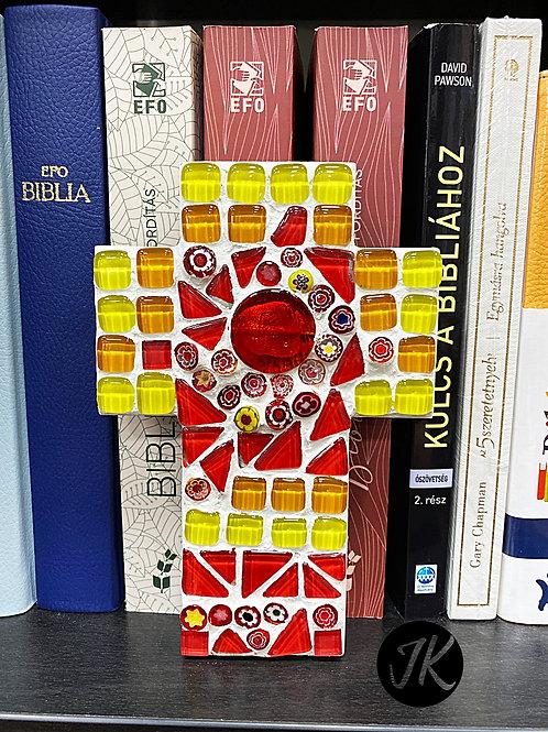 Mozaik kereszt - falidísz, rétegelt fa lemez alapon (Piros-sárga)