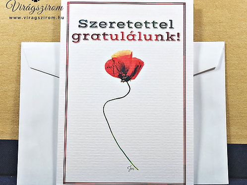 Szeretettel gratulálok, borítékos, képeslap,valódi préselt virág reprodukció