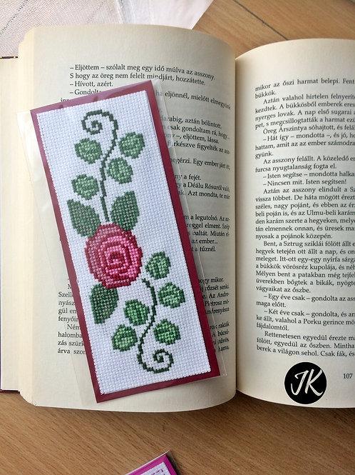 Rózsás, könyvjelző, keresztszemes hímzéssel