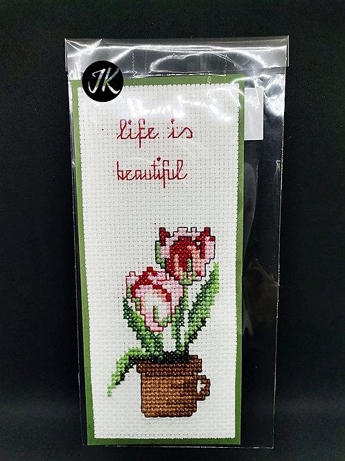 Life is beautiful - könyvjelző, keresztszemes hímzéssel